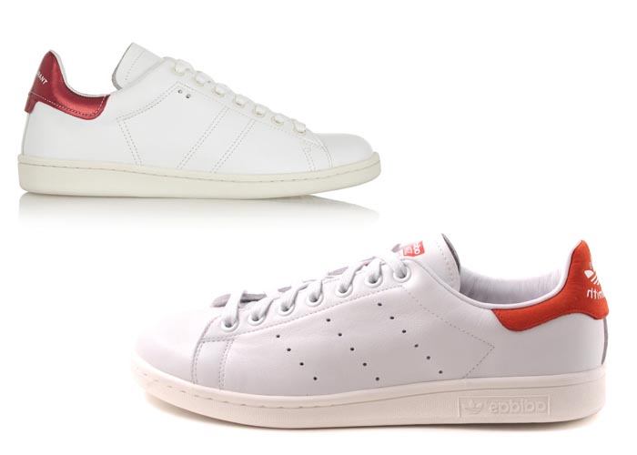 Adidas klaagt Isabel Marant aan wegens plagiaat Sneakers van Adidas en sneakers van Isabel Marant die wel heel erg op elkaar lijken: Stan Smiths van Adidas.