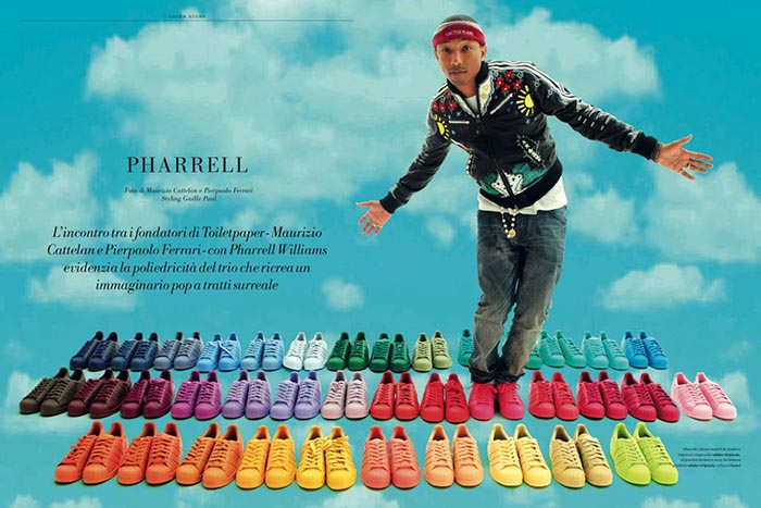 Adidas Superstar sneaker x Pharrell Williams. Opnieuw ontwerpt Pharrell Williams een nieuwe collectie van de Adidas Superstar sneakers. Ontdek hier.