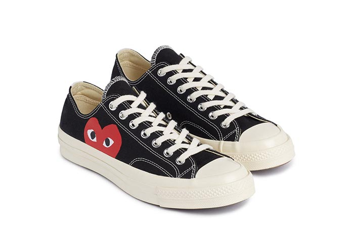 Converse x Comme des Garçons sneakers. All Stars Chuck low top en high top. Limited edition collectie van Converse x Comme des Garçons sneakers.
