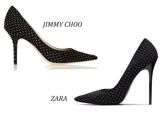 Copycat: Zara x Jimmy Choo pumps. Modeketen Zara kopieert pumps van Jimmy Choo. Zwart met zilveren glitters. Bekijk deze copycat van pumps hier.