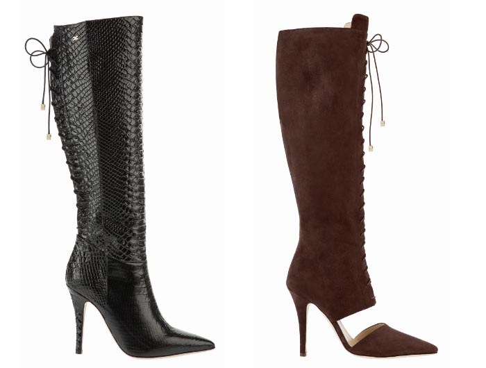 Elisabetta Franchi winter 2014-2015. Alles over de nieuwe collectie van Elisabetta Franchi schoenen winter 2014-2015. Bikerboots, peeptoes, pumps etc.