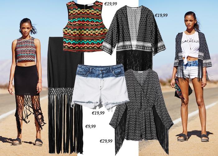 Lookbook: H&M x Coachella 2015. Bekijk hier de collectie en het lookbook van H&M x Coachella. Festival items, kleding, shirts, schoenen en meer. Ontdek hier.