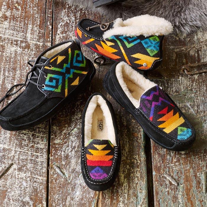 UGG x Pendleton collectie. Ugg Australia en het Amerikaanse merk Pendleton Woolen Mills lanceren samen collectie van schoenen en tassen.
