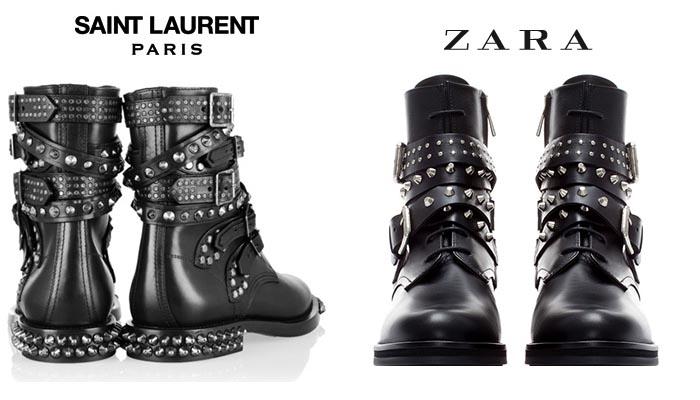 Copyspotter: Saint Laurent vs. Zara bikerboots. Lees hier alles over de Saint Laurent vs. Zara bikerboots. Bekijk de foto's en de verschillen hier!
